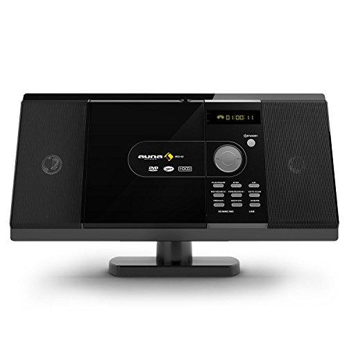 Auna MCD-82 Minicadena estéreo • Equipo Reproductor de DVD CD • MP3 • USB • Pantalla LCD • Radio FM • Salida coaxial • Conector Euro • Montaje en Pared • Mando Distancia • Salida de Audio AUX • Negro