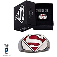 DC Comics Superman Man of Anillo de acero inoxidable - Tamaño 12
