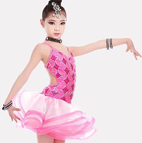 Freestyle Wettbewerbs Kostüm - Latin Tanzkostüme für Kinder Freestyle Dance Kostüme Kinder Wettbewerb Performance Kleidung rosa/blau, Pink, 140cm