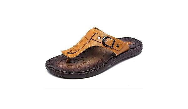 b948edb2be2709 Men s Summer Walking Sandals Men s Shoes Leather Spring Summer Comfort  Sandals for Casual Dark Blue Light Brown Dark Brown