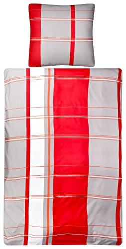 Aminata Home - karierte Bettwäsche 135x200 cm Mikrofaser + Reißverschluss Karos kariert *für Allergiker* Rot Grau Anthrazit Bettbezug Streifen gestreift Quadrate Rechtecke Bettwäscheset Bezug Ganzjahr - Bettbezug Rot