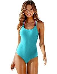 QinMM Bañador de Mujer Multicolor Bikini ropa de baño de una pieza (Azul, M)