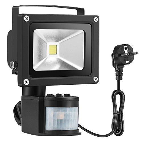 Warmoon 10W LED Fluter Bewegungsmelder Kaltweiß Strahler Licht Wasserdich Sicherheits-Leuchten mit PIR 6500K, 1200lm für Heim, Garten, Garage etc