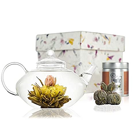 Prestige Flowering Tea Gift Set - Glass Teapot with Infuser - 600ml (2 Cup Size) - Glass Tea Set with Sampler Tin of Blooming Tea - Handmade Gift Box