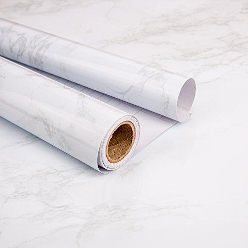 """LUTER Möbelfolie Marmor Folie - 15.7""""x78.7 Granit-Küchenarbeitsplatte Kabinett-Möbel ist erneuert Selbstklebender Film-Starkes Wasserdichtes PVC (Grau/Weiß)"""