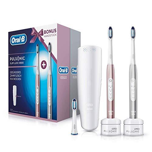 Oral-B Pulsonic Slim Luxe 4900 Elektrische Schallzahnbürste mit 2. Handstück, Für gesünderes Zahnfleisch in 4 Wochen, roségold und Platin - Braun Oral-b 7000