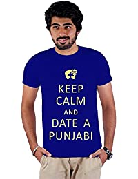 Enquotism Royal Blue Combed Fabric Round Neck Men T-Shirt Keep calm and Date a Punjabi Royal Blue