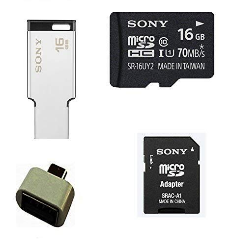 Sony 16 GB Memory Card (70 Mbps) with 16 GB Metal Pendrive OTG Adapter and SD Adapter Combo Set