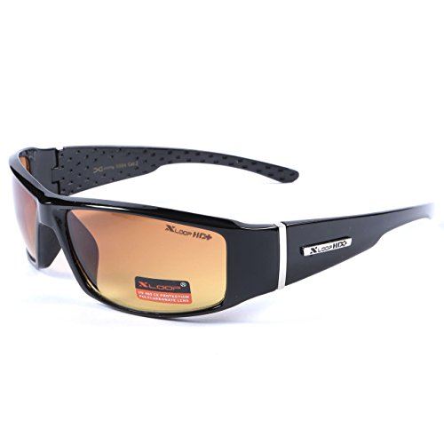 X-Loop Mens Driving Sunglasses Black Wraparound Frame HI Def UV400 Protection Gradient Copper Lens + Pouch