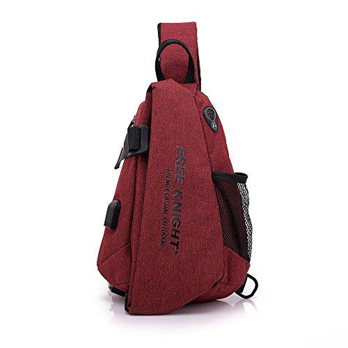 Miya System Ltd Crossbody Tasche Sling-Rucksack Schultertasche Damen Herren Handtasche Brusttaschen Sporttasche für Outdoorsport Laufen, Ballspiele, Wandern, Camping, 32 cm * 23 cm * 10 cm (Rot)