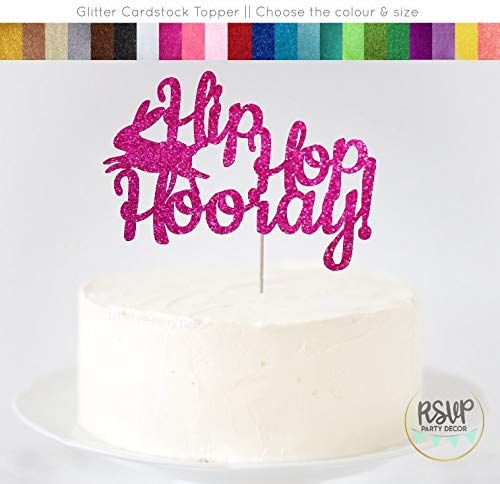 Andrea1Oliver Hip Hop Hooray Cake Topper Bunny Motto Geburtstag Dekorationen Kaninchen Geburtstag Cake Topper Bunny Baby Dusche Cake Topper Ostern Topper