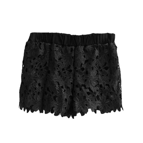 Femme Crochet Design Fleur Élastique Taille Lacets Pantalons Courts Noir
