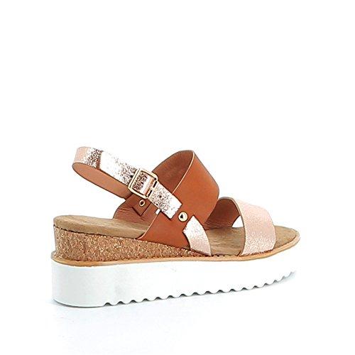 Sandale compensée à semelle blanche Camel