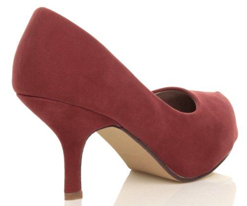 Ajvani, Scarpe col tacco donna Rosso (Dark Red Suede)
