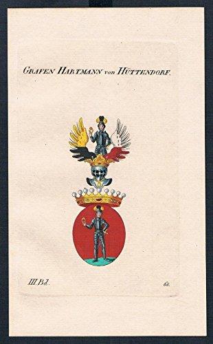 Grafen Hartmann von Hüttendorf Wappen Kupferstich Genealogie Heraldik