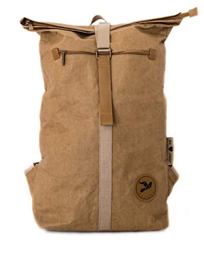 PAPERO ® Rucksack aus Kraft- Papier | Ultra minimalistisch Herren Damen, Robust, Wasserfest Vegan fair nachhaltig Urban Style FSC Zertifiziert | Kurier Taschen, Rolltop Laptop Farbe:Hellbraun - 3