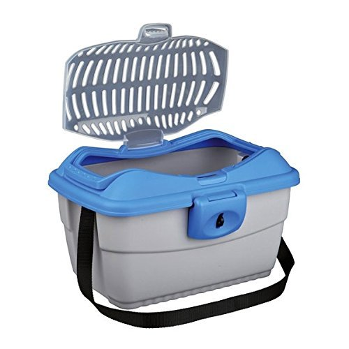 Trixie 3980 Mini-Capri Transportbox, 40 × 22 × 30 cm, hellgrau/blau