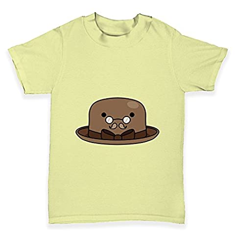TWISTED ENVY Baby T-Shirt Bowler Hat Glasses Print 3 - 6 Months Zitronengelb (Glass Hat)