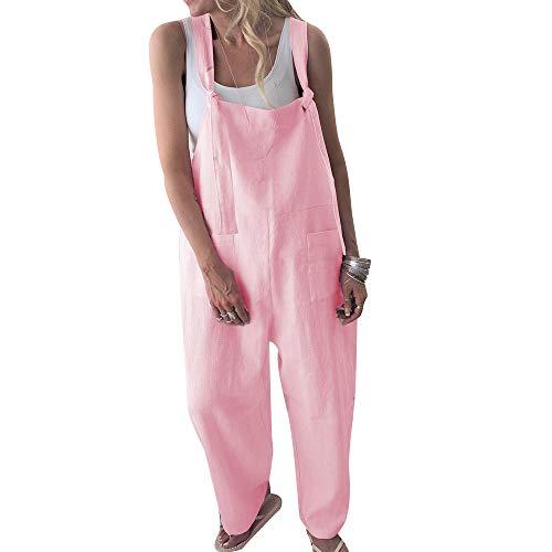 MINTLIMIT Damen Leinen Overalls Latzhosen Weites Bein Jumpsuit Baggy Latzhose Harem Strampler Romper Beiläufige Riemchen Paket Lose Hose Rosa XL -