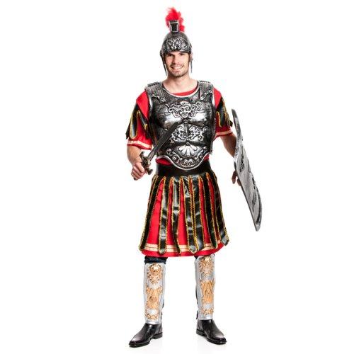 Brustpanzer Kostüm Römischer (Kostümplanet® Römer-Kostüm Herren + Umhang Imperator Gladiator Größe)