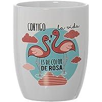 DonRegaloWeb - Taza desayuno positiva original flamencos contigo la vida es de color de rosa
