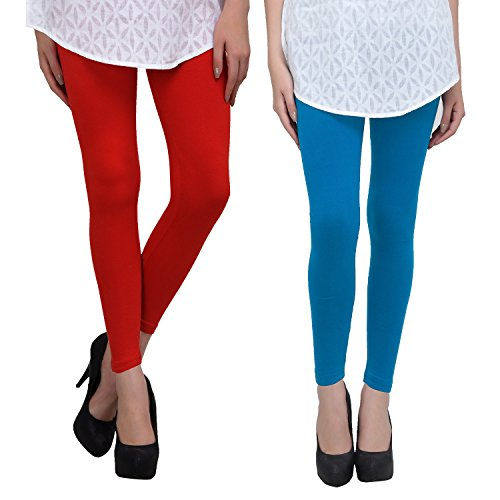 Livener Premium Cotton Ankle Leggings for Women (Combo of Red & Turquoise Blue Color)