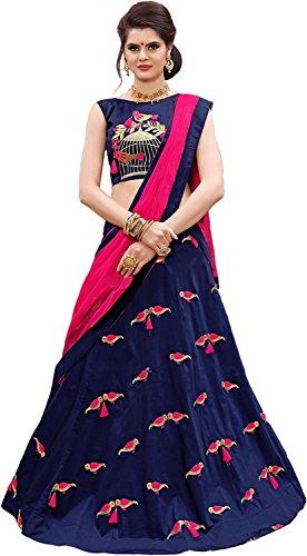 Lovisa Fashion Women\'s Taffeta Silk Embroidered Lehenga Choli (perrotblue_Blue-color_Free size)