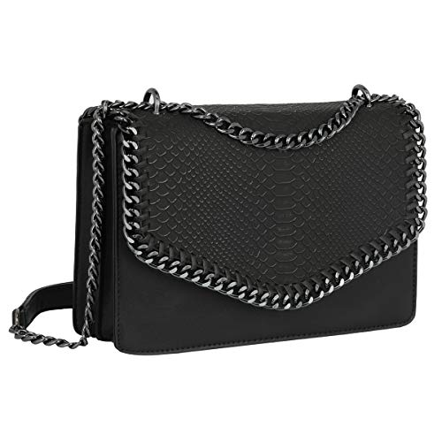 CRAZYCHIC - Damen Schlange Ketten Umhängetasche Snake PU Leder Schultertasche - Gesteppte Kettentasche Handtasche - Chains Messenger Crossbody Bag - Clutch Abendtasche Mode Trendy Fashion - Schwarz -