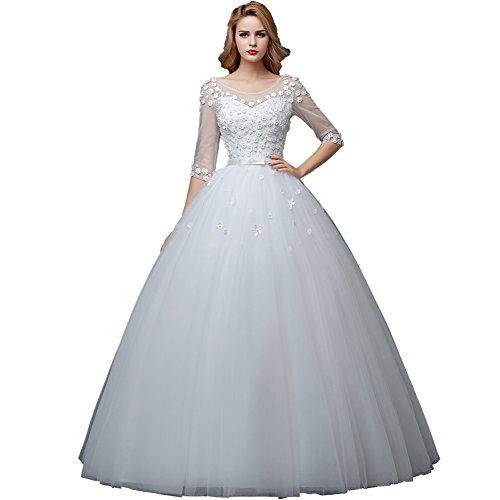 Wewind Damen Prinzessin-Stil Hochzeitkleid mit Spitze Bodenlang Schmucksteine Rückenfreie...
