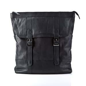 BACCINI sac à dos TERRY - grand - sac à dos en cuir - backpack noir en cuir véritable