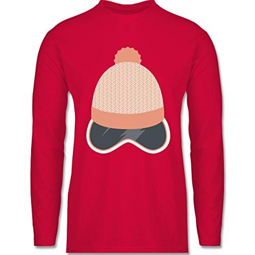Shirtracer Après Ski - Ski Snowboard Brille Mütze - Herren Langarmshirt Rot