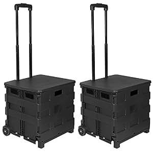 woltu ew4802sz 2er einkaufswagen 64l einkaufstrolley einkaufsroller shopping trolley. Black Bedroom Furniture Sets. Home Design Ideas