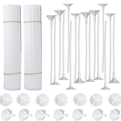 lastikstäbe Luftballon-Zubehör Ballon Sticks Halter mit Cups für Hochzeit Urlaub Dekor, 32 cm, weiß (100 PCS) ()