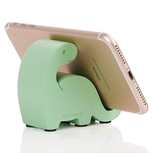 plinrise Kunstharz Art Craft Niedlicher Mini-Dinosaurier Desktop Handy Stand-, Candy Farben Animal Dino Smart Phone Halterung für iPhone iPad Samsung Tablet Kindle, S-Dino LightGreen -