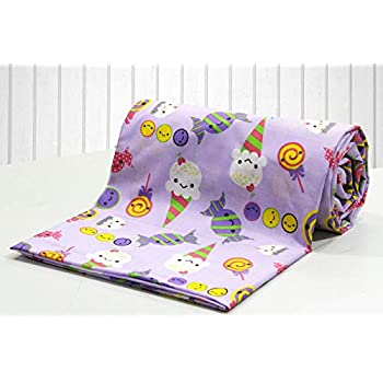 AURAVE Kids Funky Purple Candy Print 1 Piece Cotton Duvet Cover/Quilt Cover/Blanket Cover, Single Bed (with Zipper)
