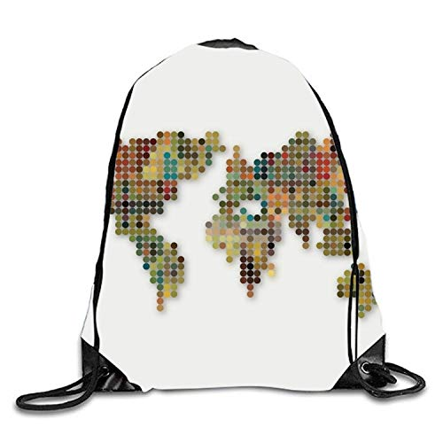 ZHIZIQIU World Map Drawstring Gym Sport Bag Durable Drawstring Backpack for Teen