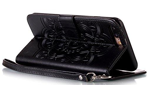 Nnopbeclik Coque Iphone 7 Plus Apple [Neuf] Mode Fine Folio Wallet/Portefeuille en Bonne Qualité PU Cuir Housse pour Iphone 7 Plus Coque Cuir [Antichoc] (5.5 Pouce) Wind Chime Style de Gaufrage Motif  noir