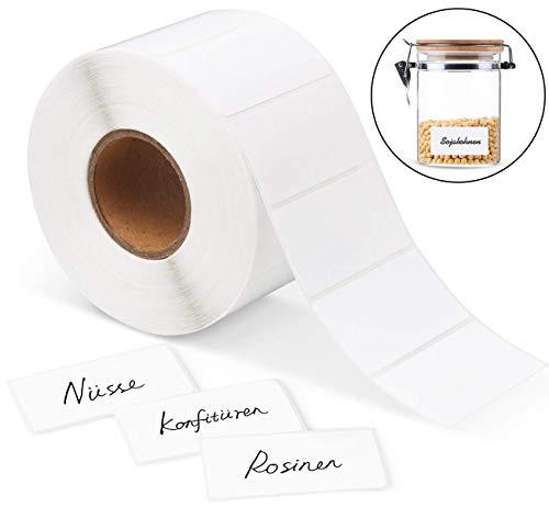 Cztech 1000Pcs Étiquettes Autocollantes Blanches, Étiquettes Cuisine Adhésives Étiquettes Autocollantes Blanc pour Le Bureau et Confiture de Cuisine (60 * 30mm)