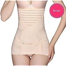 fitnesssun–3en 1Postpartum Support–Recuperar vientre y cintura y pelvis Cinturón Faja–para mujer–elástico transpirable–mujeres y maternidad, beige, F