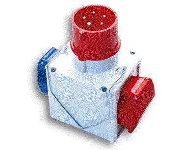 Industrie-380V-Adapter 1 Stecker CEE + 2 Steckdosen IP44 Red-Blue