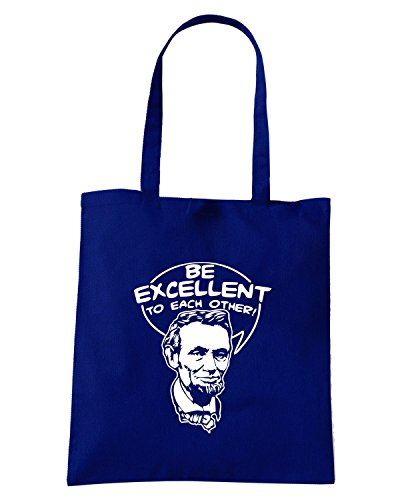 T-Shirtshock - Borsa Shopping FUN0720 be excellent to each other Blu Navy