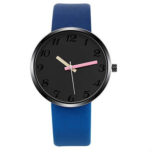 Damenuhr Armbanduhren Für Damen Casual Herrenuhr Quarz Armbanduhren Damenuhr Lederuhr Lovers Unisex Clock Pointer Uhr Relogio Reloj Touch Blau -