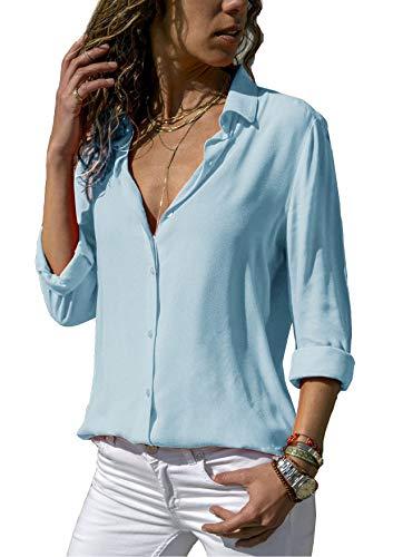 ZC&GF Damen Bluse Chiffon Elegant Langarm Oberteile Einfarbig V-Ausschnitt Hemdbluse Asymmetrisch T-Shirt Top (Hellblau, XXL) -