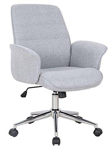 SixBros. Bürostuhl Chefsessel Drehstuhl Schreibtischstuhl Stoff Grau - 0704M/2488