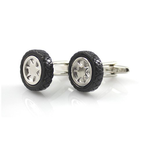 black-car-truck-wheel-rim-tire-cufflinks-free-box-cleaner