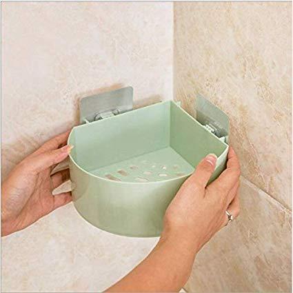 MOSHTU Bathroom Kitchen Storage Organize Shelf Rack Triangle Shower Corner Caddy Basket with Wall Mounted Suction Cup