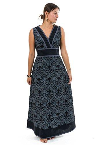9c907c403b29 FANTAZIA Robe Longue Print Ethnic Chic Noir Gris - XL - (42-44)
