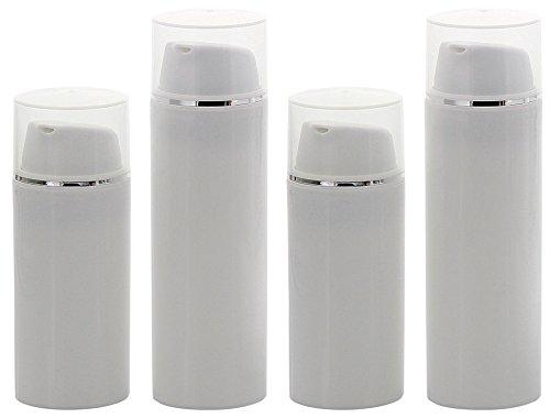 Kosmetex Airless Pumpspender 2x 30ml 2x 50ml, Silberstreifen Cremespender, Lotion und Gelspender zum selbst Befüllen, 4× mix Set