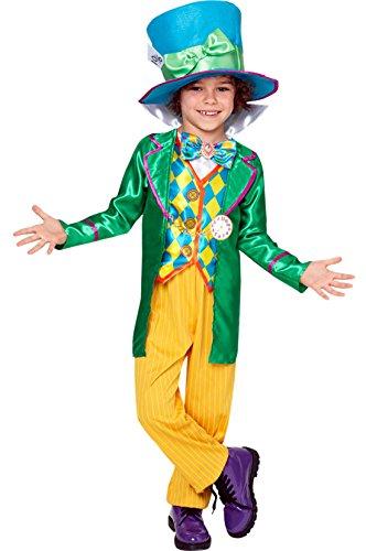 erdbeerloft - Jungen Karneval Kostüm Alice im Wunderland Mad Hatter, Mehrfarbig, Größe 98-104, 3-4 Jahre