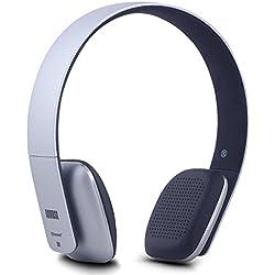 August EP636 Casque Stéréo Bluetooth Sans Fil NFC Multipoint - Supra Aural Ultraléger Confortable avec Microphone Intégré - 14 Heures d'Autonomie - Argent